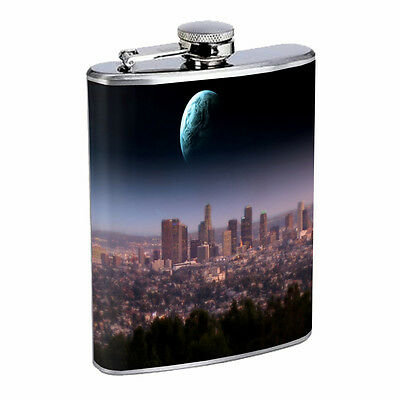 Los Angeles California Flask D9 8oz Stainless Steel Bright Lights City of Angels