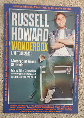 RUSSELL HOWARD UK Tour/Concert Flyer Wonderbox 2014 TV Comedy Stand-Up Sheffield