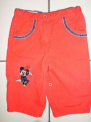 Pantalon Enfant Fille Rouge Motif Mickey Marque Disney By H&m T.80 Cm Europeenne