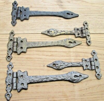 1 pair CAST IRON ORNATE DECORATIVE FANCY GATE DOOR CABINET CUPBOARD HINGES