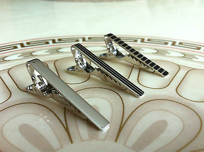 Mens 4CM Skinny Tie Clip Bar x3 Set - Silver & Black Stripe -Stainless Steel Pin