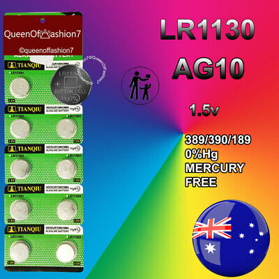10 x LR1130 (AG10/390) Battery 1.5V Alkaline Batteries Sydney Local Stocks