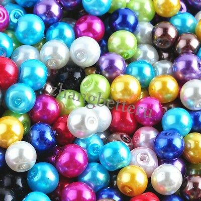 Lot Bright Color Glass Pearl Spacer Loose Beads DIY Jewelry Findings 4 6 8 10mm