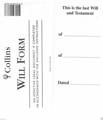 Collins Australian DIY Will Kit, Includes 1 Form and instructions