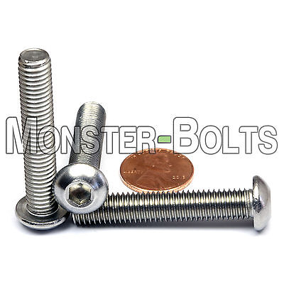 8mm - 1.25 x 45mm - Qty 10 - A2 Stainless Steel BUTTON HEAD Screws M8-1.25 x 45