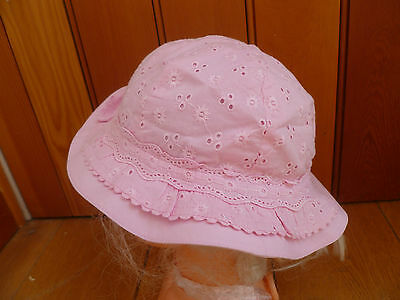 Marks And Spencer White Or Pink Embroidery Anglaise Baby Sun Hat Chin Strap New