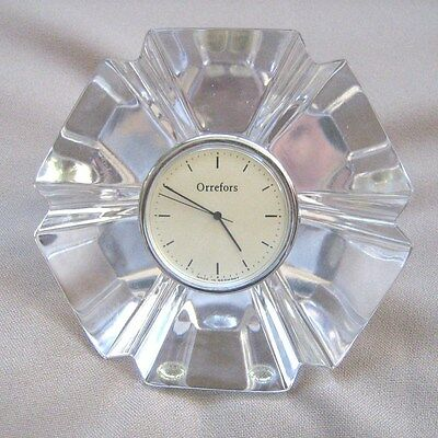 Orrefors Vintage Crystal Pendule Desk Clock Made in Germany FREE SHIPPING