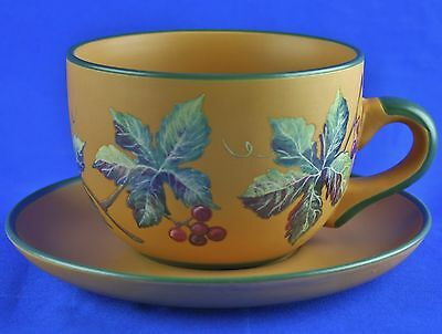 Oversized Cup Saucer Tuscan Grapes Terracotta Green Trim by Designpac