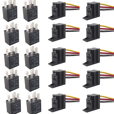 DC 10Pack Car 30A AMP 12V Relay Kit For Fan Fuel Pump Light 4Pin 4 Wire SPST