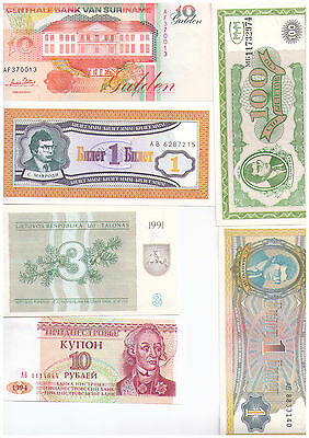Selection of 100 Uncirculated World Banknotes - All different - Good Range