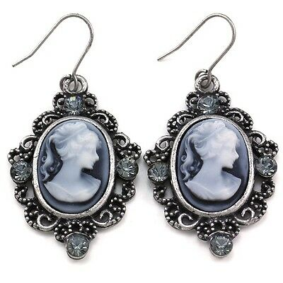 Antique Vintage Style Silver Tone  Cameo White Gray Stone Dangle Earring 2a