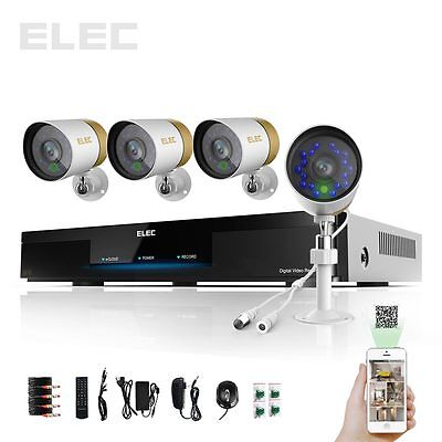 ELEC® 4 Channel Network DVR Full D1 HDMI CCTV Video Home Security Camera System