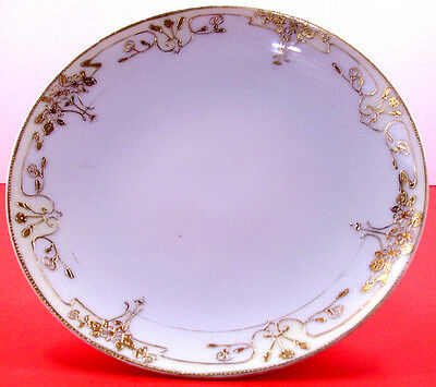 HAND PAINTED NIPPON FINE CHINA HEAVY GOLD GILDED DECORATIVE PLATE SAUCER
