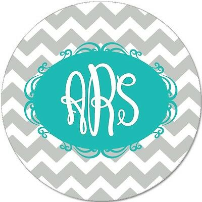 Monogrammed Mouse Pad - Personalized Chevron Round Mouse Pad Custom Monogram