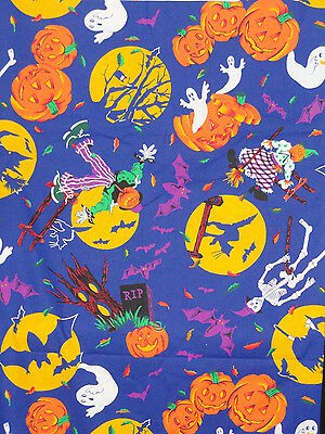 BTY Halloween Skeleton Witch Bat Cat Owl Ghost Scarecrow on Blue