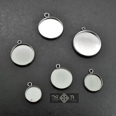 15 x Stainless Steel Cabochon Round Bezel Frame Pendant Settings - Six Sizes