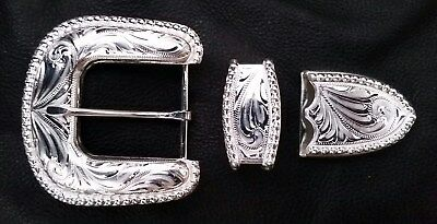 """1 1/2"""" Hand Engraved Western Silver Belt Buckle Set with Silver Bead Edge"""