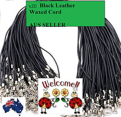 20 X Black Leather Necklace Cord, 50Cm With Lobster Clasp + Extension