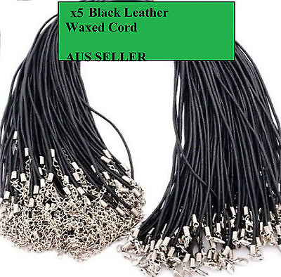5 X Black Leather Necklace Cord, 50Cm With Lobster Clasp + Extension