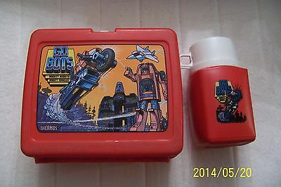 """VINTAGE 1984 """"GO BOTS"""" RED PLASTIC LUNCHBOX w/ THERMOS By THERMOS TONKA"""