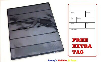 10 Stamp Album Stock Pages (6 Rows) Display Sheets - Black and Double Sided