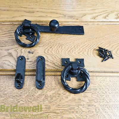 Garden Gate Ring Latch Black Antique Vintage Traditional Cast Iron Heavy Duty