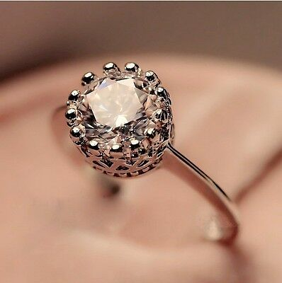 Crown Women's White 18k Gold Rose Gold Plated 2CT CZ Wedding Rings Sz 6/7/8/9/10