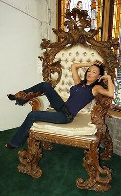 French Rococo Throne Chair Executed in Walnut 1800-1899 #7711