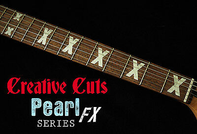 X Fret Markers Inlay Set Sticker Decal MOP for Fender Strat or ANY BASS & GUITAR