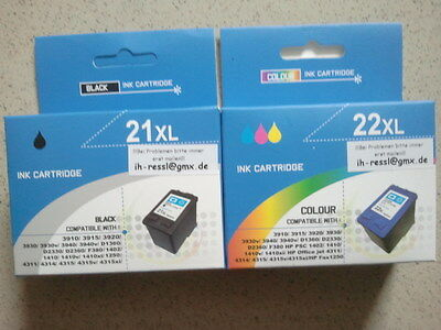 Set 1x 2x Drucker Patrone Farbe Tinte HP 21XL 22XL 58 black color DeskJet D2320