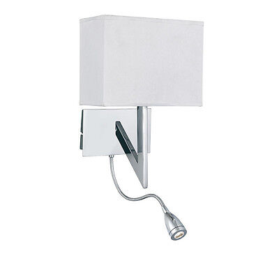 SEARCHLIGHT 3299CC 2 Light LED Combi Wall Light in Polished Chrome/White Shade