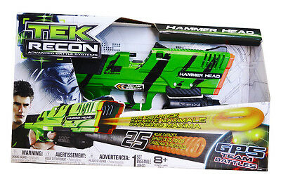 Tek Recon Hammer Head Dartblaster + 25 NRG-Rounds + Ammo Clip + Grip