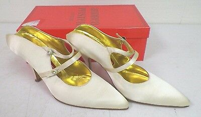 2ff3c94a33b Women s Andrea Pfister Couture Ivory Leather Strap Shoes Heels Sz 6 1 2 Euc