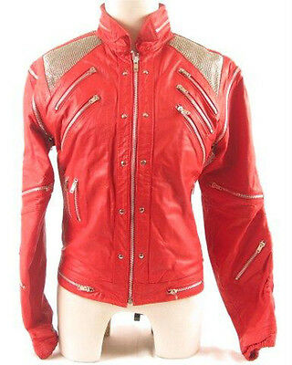 "Michael Jackson Beat it ""MJ Beat it"" Real Leather Jacket with real metal mesh"
