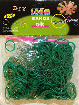 300pcs Dark Green Color Loom Band Rubber bands+Free 12 S-Clips & Hook- Aus Stock