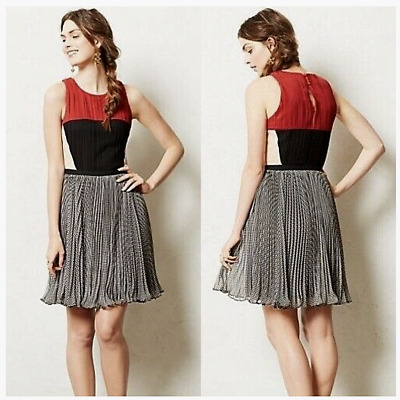 NEW Sz L Anthropologie Margot Dress By Greylin Fun flirty pleated dress Sold out