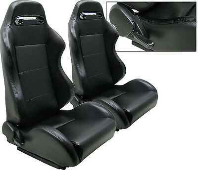 New 1 Pair Black Pvc Leather Racing Seats All Ford *****