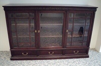 Large Antique Carved Mahogany Bookcase w/Beveled Glass attr AH Davenport