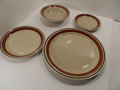 Contemporary Chateau Tan & Brown Hand Painted 4-Piece Place Setting - GC