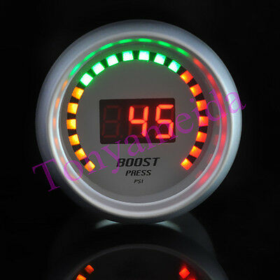 """New Auto Car 2"""" 52mm Red Digital Color 20 LED Boost PSI Meter Racing Gauge White"""
