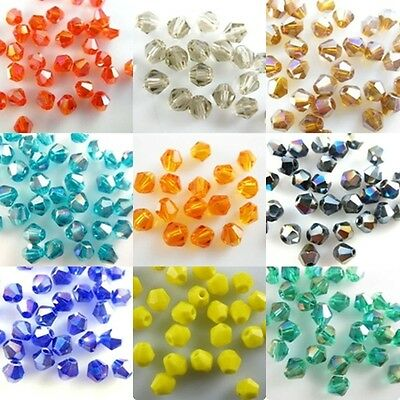 Wholesale 100Pcs 4mm Faceted Glass 5301 Crystal Loose Spacer Bicone Bead 58Color