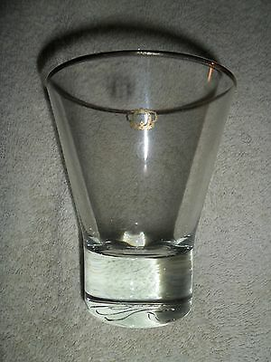 Vintage Crown Royal fluted drinking glass with gold trim & weighted bottom Italy
