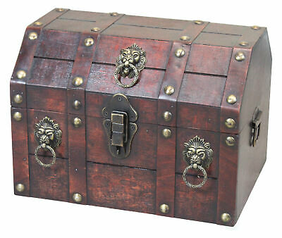 New Vintiquewise Antique Wooden Pirate Treasure Chest with Lion Rings, QI003039