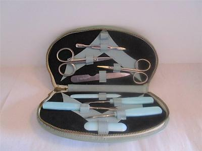 Vintage Manicure Set w/ Simulated Leather Zip Case. 1960's or 70's.