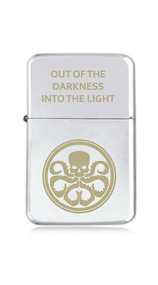 ★STAR★ engraved LIGHTER silver black pink gold SHIELD HYDRA marvel agent QUOTE