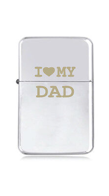 ★STAR★ engraved LIGHTER silver black pink gold FATHERS DAY I love MY DAD heart