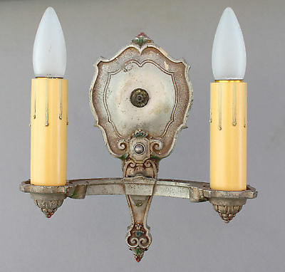 1920s Antique Spanish Revival Wall Double Sconce Lamp Light (6757)