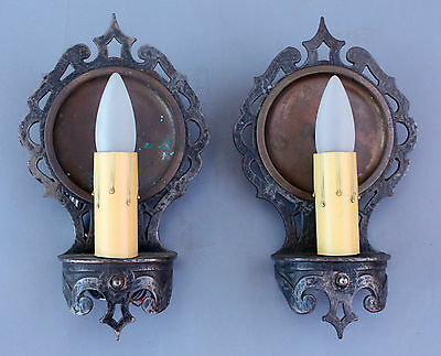 Pair 1920s Bronze & Copper Wall Sconce Fits Tudor Gothic Spanish (6767)