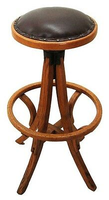 Antique Drafting Stool, American Oak in Brown Leather 1800-1899 #0471