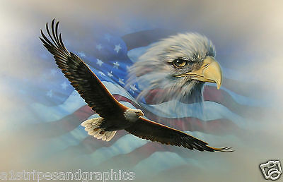 American Flag Soaring Bald Eagle RV Trailer Wall Mural Decal Decals Graphics Art